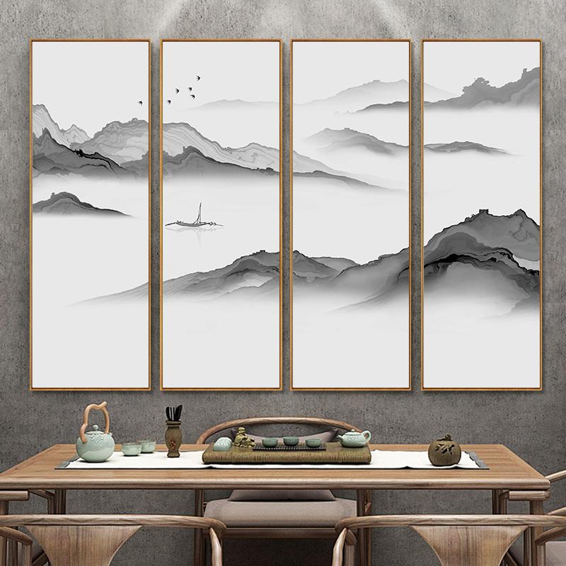 新中式装饰画客厅沙发背景墙茶室墙面挂画禅意山水画四联水墨壁画