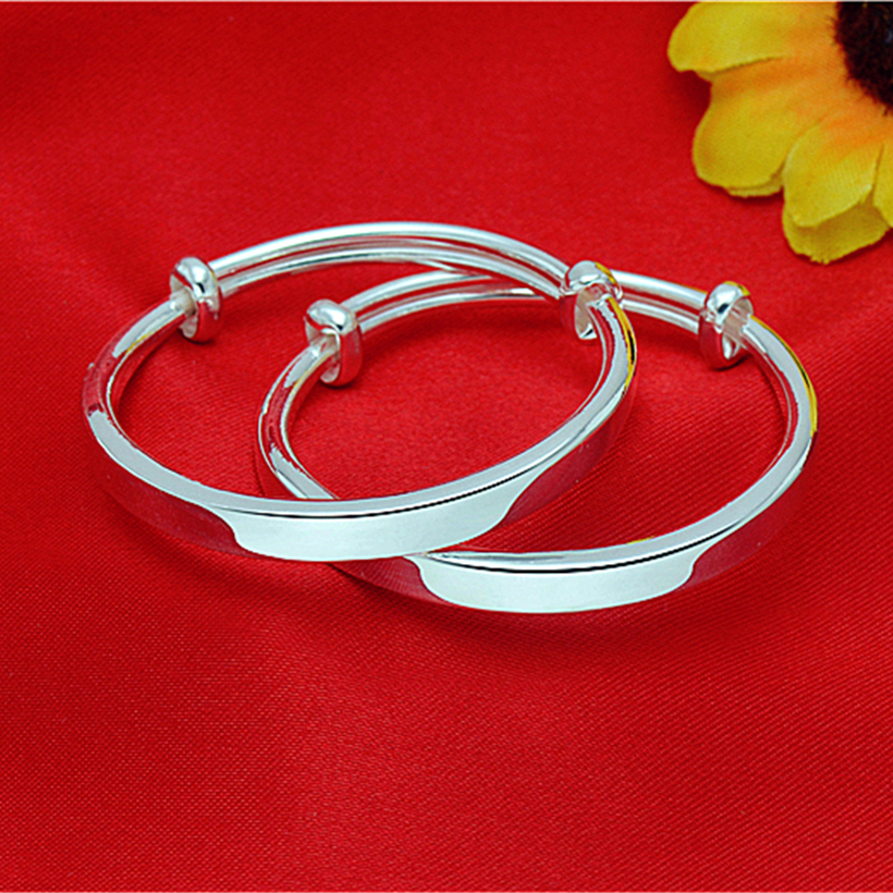Simple 9999 Baby Bracelet childrens full silver solid bracelet glossy childrens Sterling Silver Bracelet square bar push pull Anklet