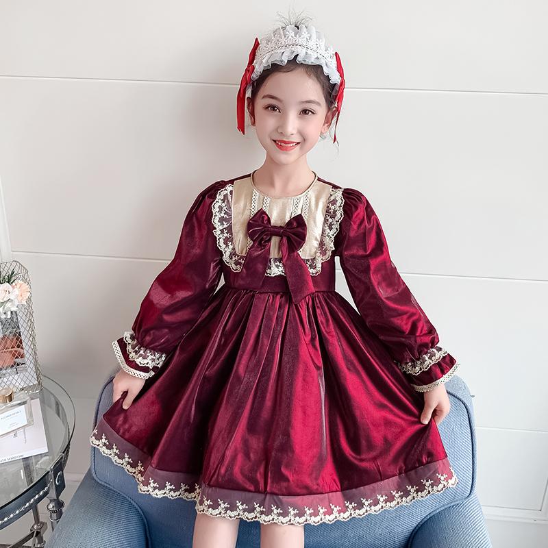 女の子ワンピース秋の2021新型洋風少女ロリータプリンセススカート長袖ワインレッドドレススカート