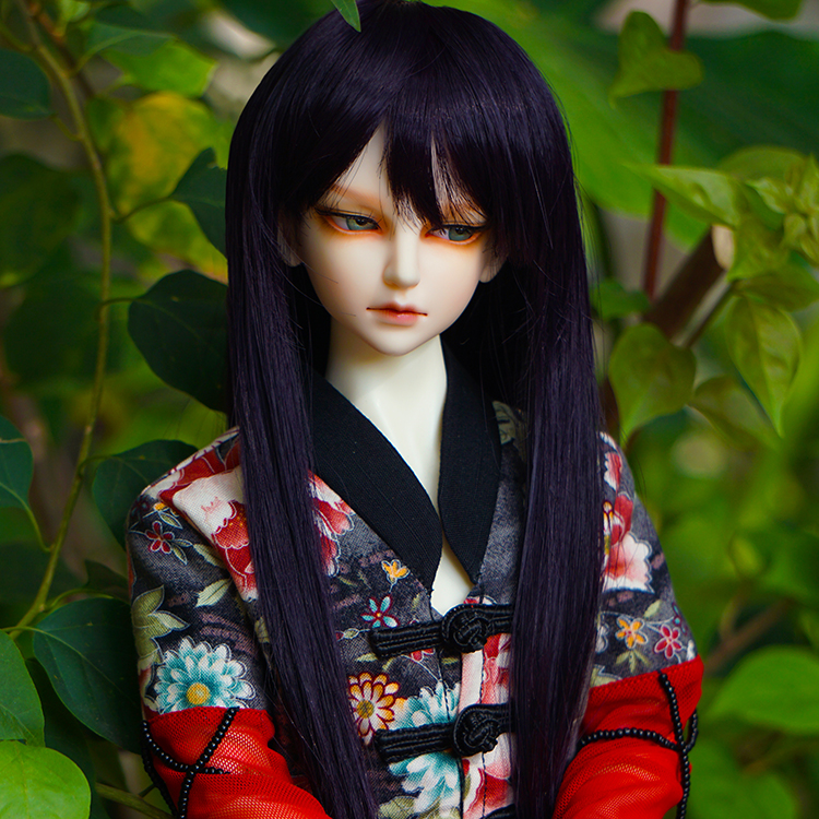 Cute hair house 4 points BJD baby wig 1 / 3 points purple black straight hair high temperature silk wig 1 / 6 points doll uncle