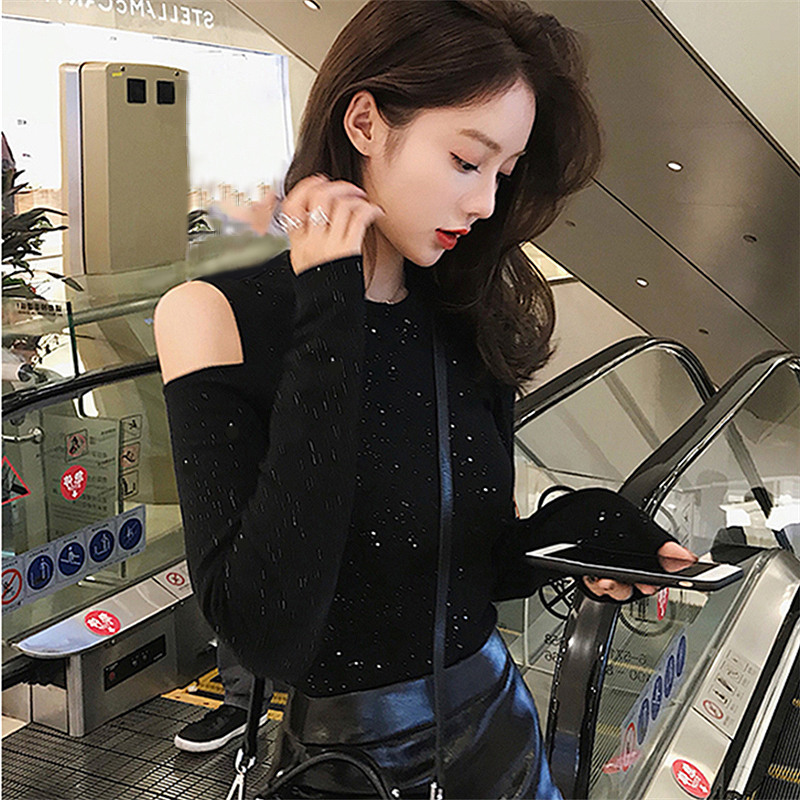 Long sleeved T-shirt girl ins super fire tight shoulder shoulder tiktok 2019 new style vibrato cotton sole Jersey