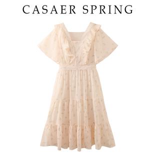 碎花连衣裙子荷叶边短袖雪纺裙女士夏季高腰修身显瘦妮卡伊芙丽