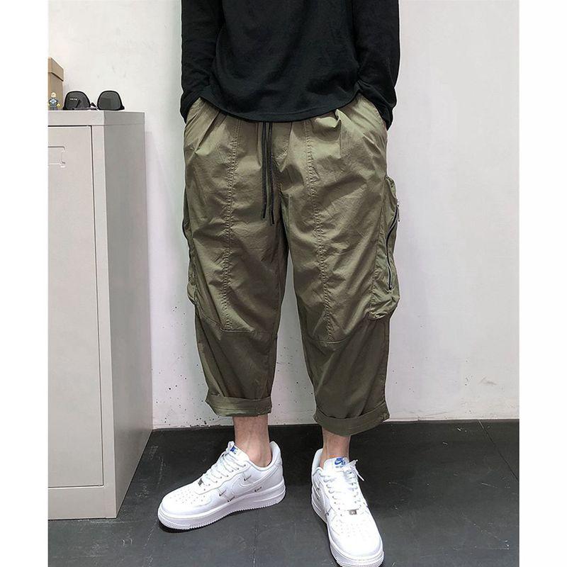 石井组10号夏季新款工装裤男潮牌宽松哈伦裤七分裤男士大口袋拉链