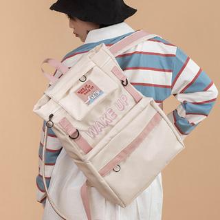 NULL原创尼龙工装风双肩包女酷个性街头潮流背包学生大容量书包