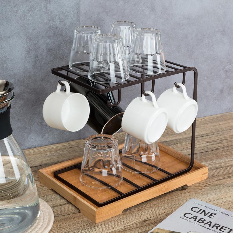 创意家用沥水玻璃杯水杯挂架咖啡杯马克杯子架收纳杯架托盘置物架
