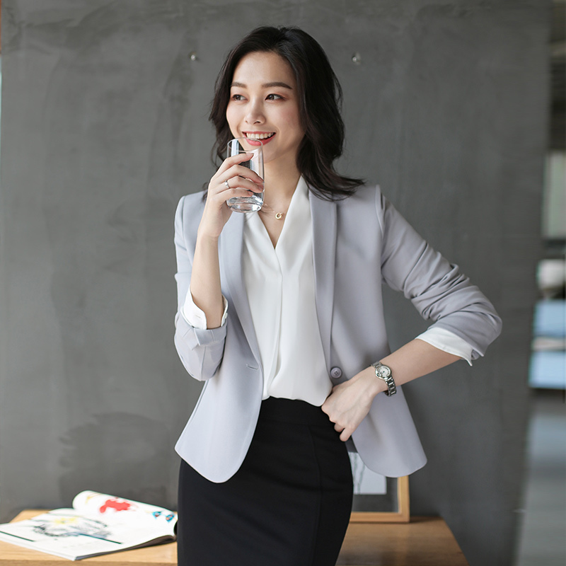 Fashionable and handsome Blazer coat women's elastic fit short casual ol professional commuting one button spring and summer 2020