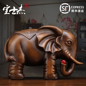 大象摆件一对招财风水镇宅客厅玄关电视柜书柜摆设家居装饰仿实木