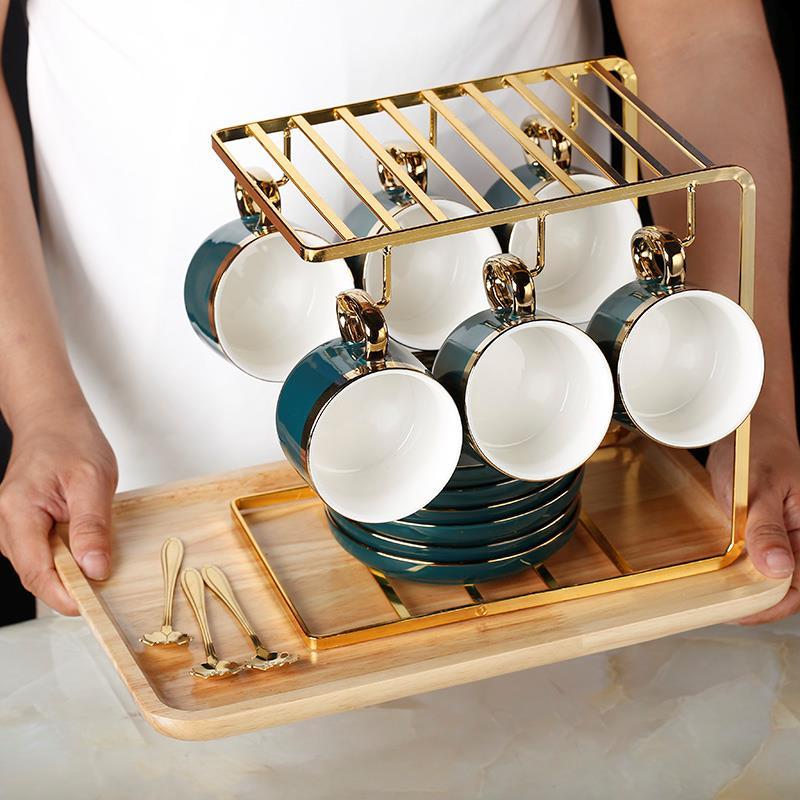 金色不锈钢咖啡杯架子6茶杯放挂架