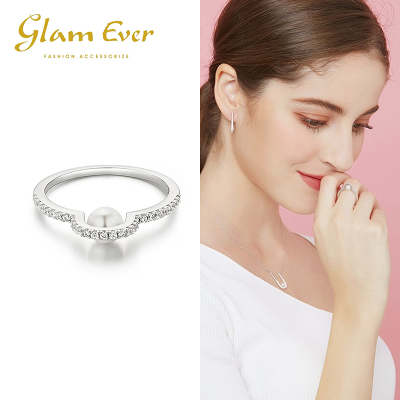 Glamever net red simple temperament Korean European and American trendsetter personality diamond pearl fashion ring index finger tail ring female
