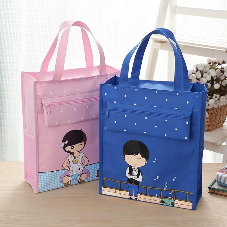 轻便6-12 岁拉链袋上学小学生手提袋拎书袋补学包孩子男女卡通便