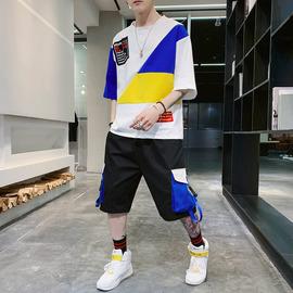 男士五分短袖T恤夏季新款韩版潮流帅气衣服休闲夏天宽松一套装男图片
