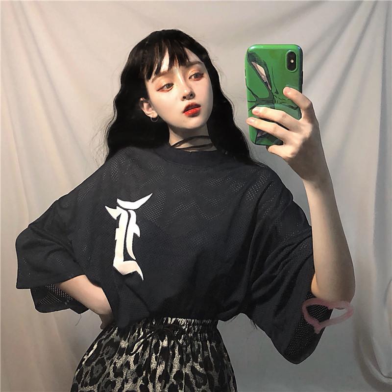 Ace女装2018新款世界杯透气网眼宽松运动球衣韩版欧版T恤女生短袖