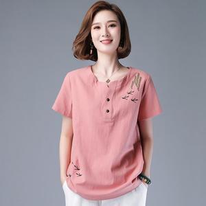 洋气纯棉上衣女衬衫夏季新款t t恤