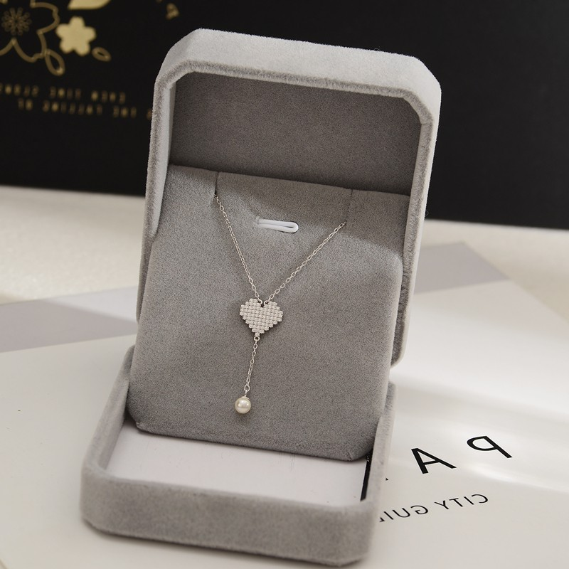 925 whole body silver clavicle Necklace Fashion temperament fairy heart tassel pearl short Silver Necklace