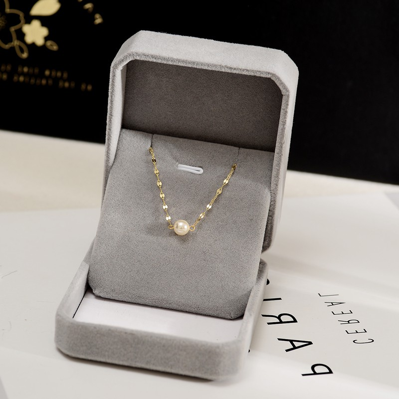 925 whole body Sterling Silver Necklace Fashion temperament pearl lining skin white short collarbone neck chain sterling silver jewelry send