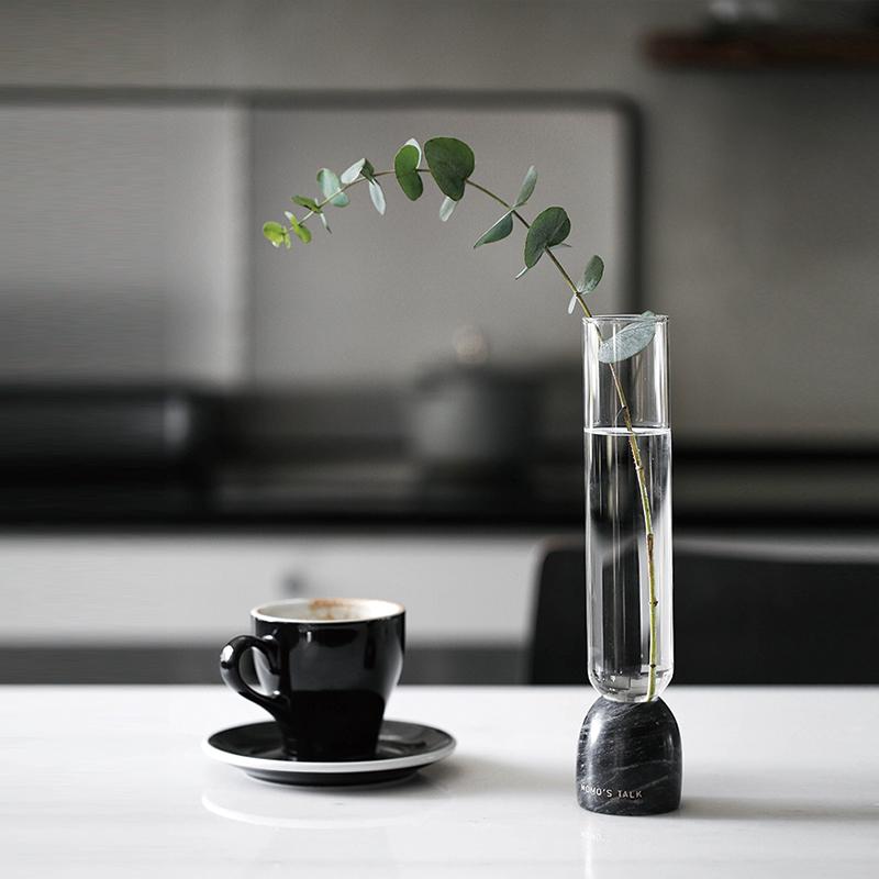 MOMO'S莫语  ins风直筒透明玻璃小花瓶大理石底座插花摆件装饰品