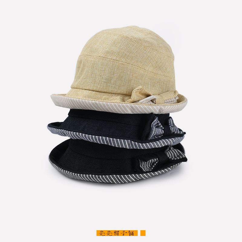 Spring and summer new products 2020 cotton student wind bowknot fishermans hat girl street photo sweet temperament sunshade small eaves basin hat