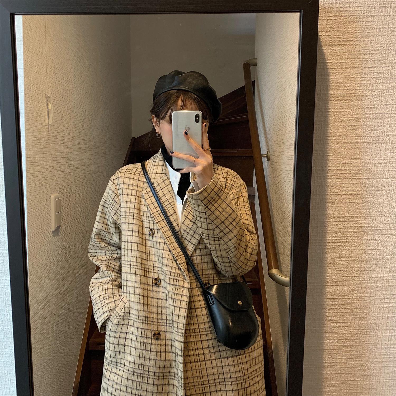 胡楚靓中长款时尚韩版呢大衣2019冬季加棉加厚chic格子毛呢外套女