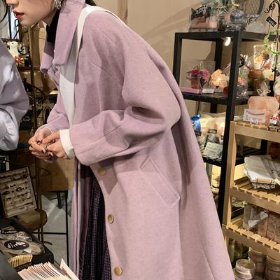 毛呢外套女中长款小个子2020冬季新款韩版紫色宽松加厚呢子大衣