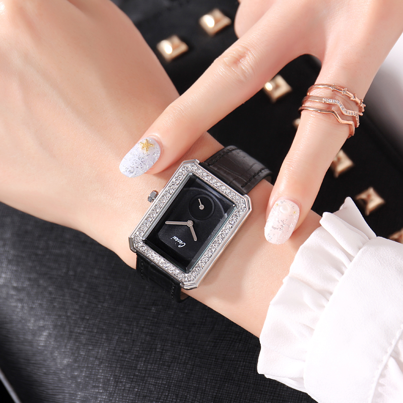 Cacaxi watch womens small fragrance Rectangular Watch imported movement celebrity fashion leather womens watch a191