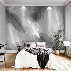 手绘黑白羽毛客厅餐厅沙发卧室电视背景墙无缝墙纸壁纸定制壁画