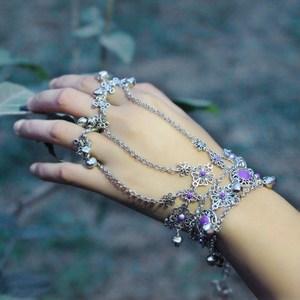 古装戒指大话西游金铃铛连指套一体戒指手链链复古代新娘