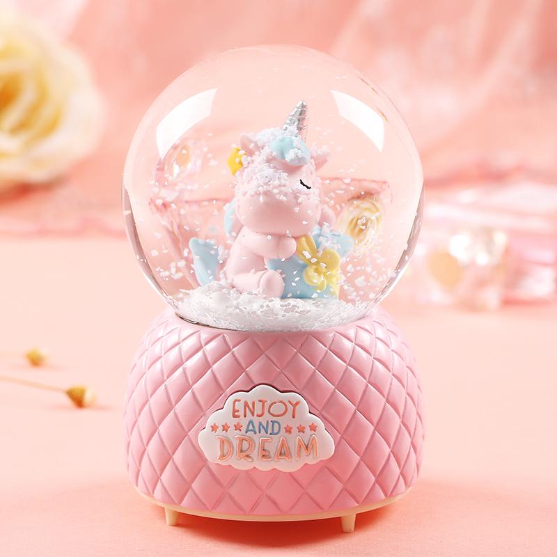 新年水晶球音乐盒生日礼物八音盒节日送男女生朋友儿童雪花情人节