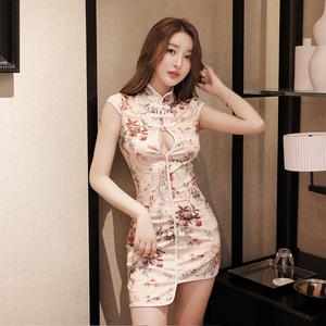 9065#實拍控價不低于36改良旗袍修身夜店女裝氣質無袖顯胸包臀短