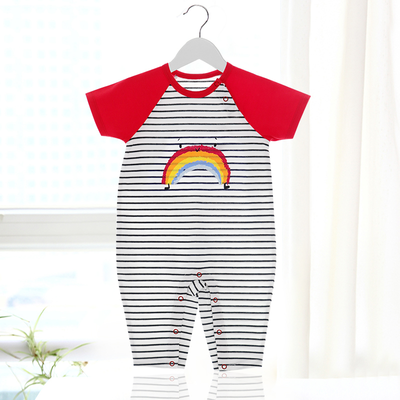 Babys one-piece clothes summer clothes short sleeve trousers climbing clothes red boys and girls going out clothes one-piece ha clothes thin
