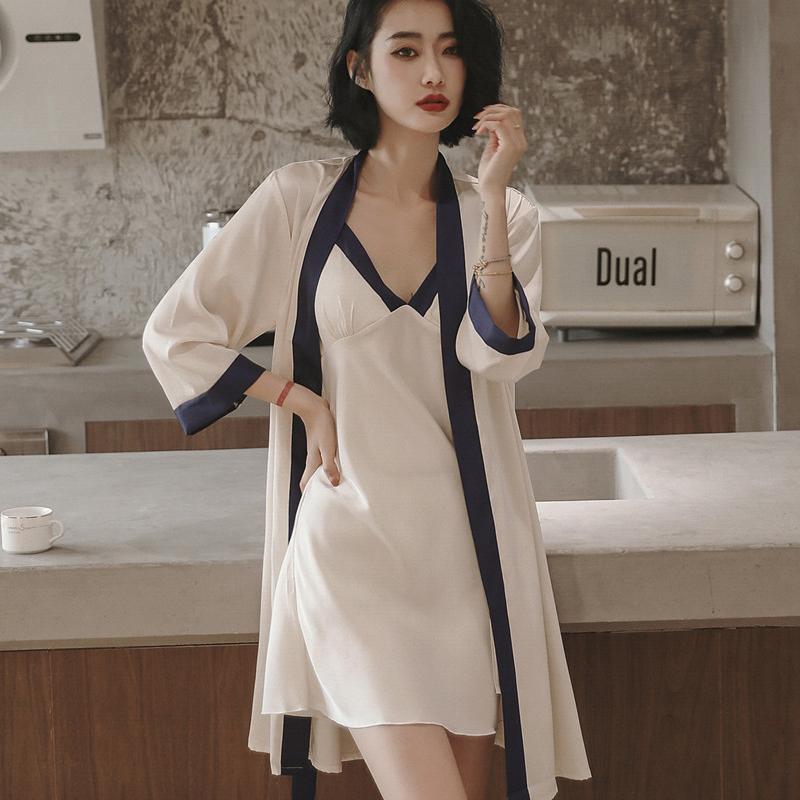 睡衣高级感女夏季冰丝绸薄款性感吊带胸垫睡裙两件套春秋2021新款