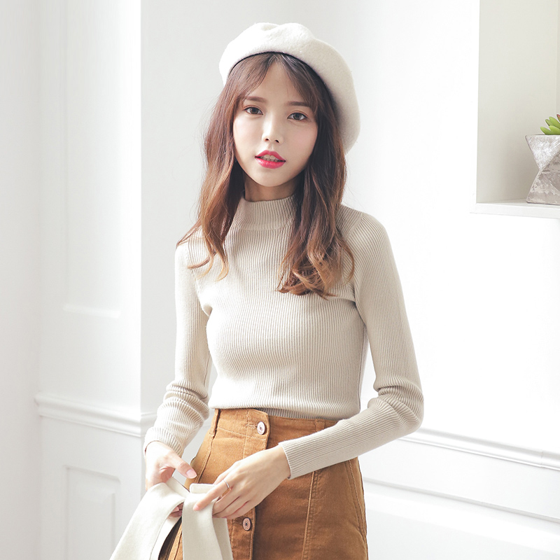 2019 Korean New Womens clothing spring and autumn half high collar long sleeve sweater Pullover slim tight sweater bottom
