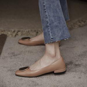 原野2020春秋新款低跟平底优雅方头浅口淑女气质简约真皮单鞋子女