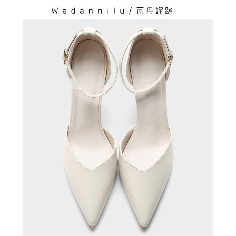 2020新款夏季一字扣带米白色高跟鞋软皮尖头大小码细跟中空凉鞋女