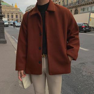 英伦加厚男士春秋冬季痞帅毛呢外套韩版潮流短款风衣夹克呢子大衣