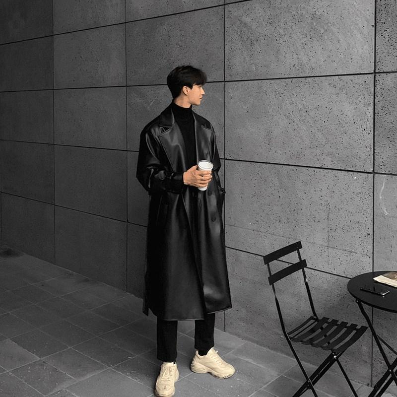 原创仿真皮春季修身皮衣男长款夹克