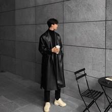 原创仿真皮春秋款 潮流长款 软皮衣男韩版 帅气机车大衣夹克风衣外套