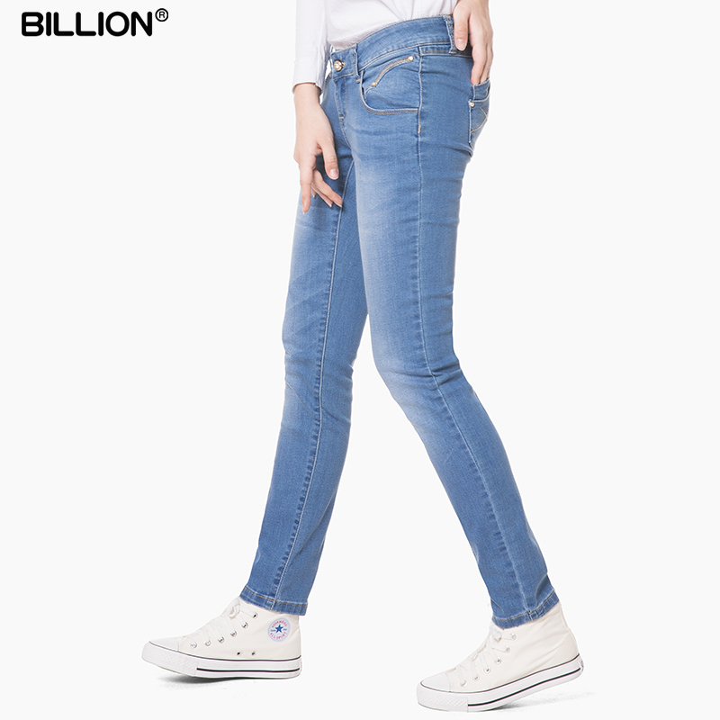 Low waist jeans womens pencil pants cotton elastic tight legged pants slim light dark blue slim jeans womens pants