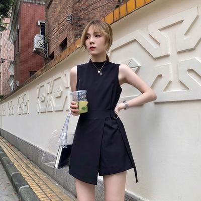 2019夏季新款不规则赫本职业连衣裙chic显瘦高腰黑色连体裤短裤女
