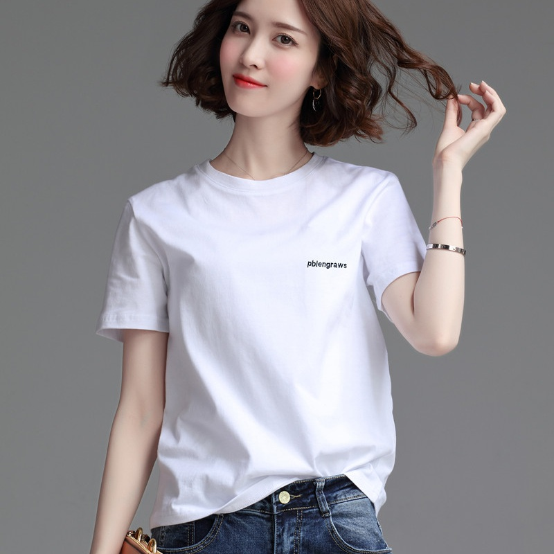 European station womens clothing European fashion 2020 new style with loose white T-shirt and womens short sleeve base shirt spring and summer T-shirt