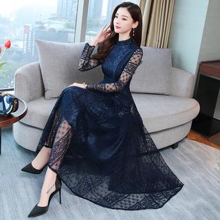 长袖小香风连衣裙春秋季2020新款时尚韩版女装早秋款蕾丝早春裙子