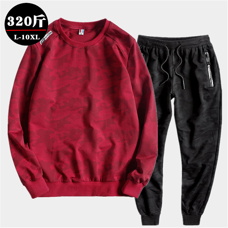 Extra large youth sweater suit, fattening and enlarging mens long sleeve round neck T-shirt and trousers, two piece spring and autumn suit