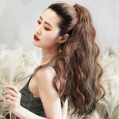 马尾假发女长发卷发抓夹式玉米烫马尾羊毛卷网红高马尾仿真马尾辫