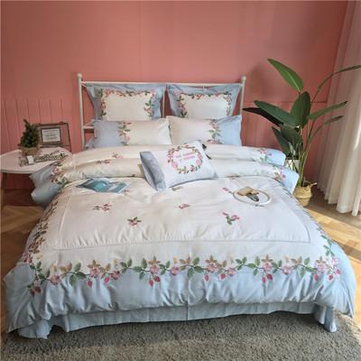 纯棉美式田园风60支长绒棉四件套小清新草莓刺绣全棉贡缎床上用品