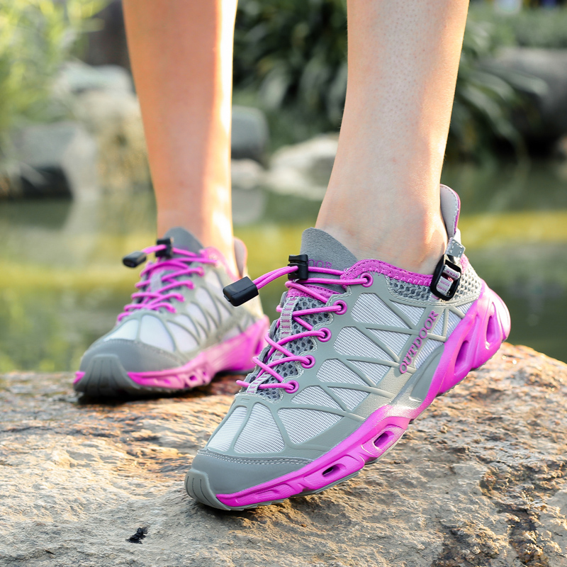 Upstream shoes female summer quick dry shuoxi outdoor hiking hiking shoes amphibious anti-skid mesh wading shoes male