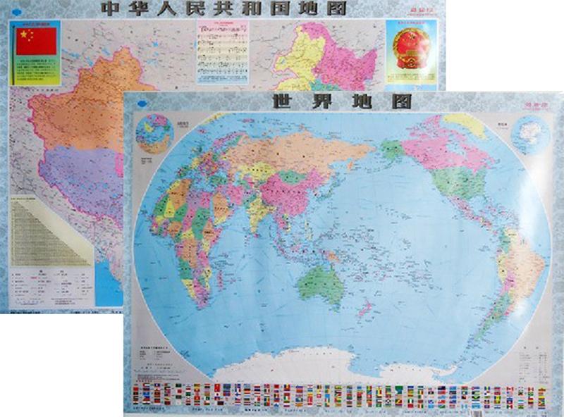 中国地图世界地图共两张 商务办公室 学生寝室 家用卧室专用贴图 地理教学挂图中国+世界2张中华人民共和国地图