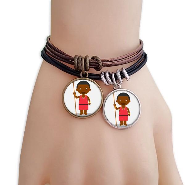 黑人野生肯尼亚卡通人物黑棕手链对饰品情侣礼物礼品自带仙气