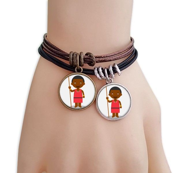 Black wild Kenyan cartoon character black brown Bracelet pair jewelry couple gift gift with Fairy Spirit