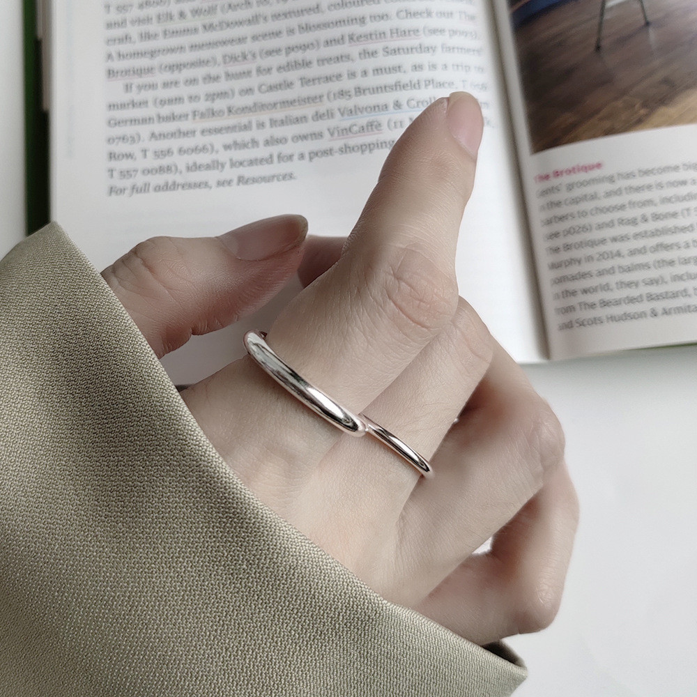 S925纯银韩国手工简约百搭光面圆圈素银极简粗款食指尾戒指不掉色