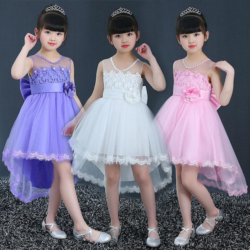 女童公主裙儿童礼服蓬蓬女孩花童婚纱小主持人钢琴演出拖尾裙子夏