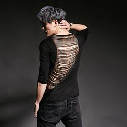 夏季五分袖男歐美潮牌t恤個性韓版修身發型師服裝流蘇半袖男裝